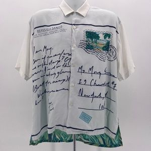 Perry Ellis Vacation Postcard Button Shirt